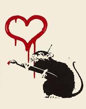 Banksy Love Rat Canvas Print 16 x 20       #3468