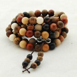 108 Mixed Sandalwood Rosewood Phoebe Senna Round Mala Prayer Wood Beads 6mm 8mm