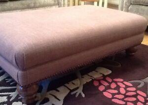Large Footstool Stool In Laura Ashley Dalton Amethyst Fabric