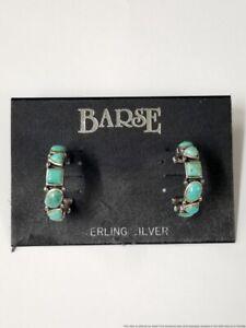 Barse Vintage Midcentury Turquoise Sterling Silver J Hoop Earrings