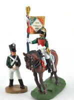 lead figure Soldier Napoleonic War Austerlitz Infantry+cavalry Flag carrier. D46
