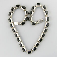 Vintage Mexican Cubed Modernist Sterling Silver Onyx Square Necklace Minimalist