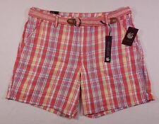 NWT Women's Gloria Vanderbilt Yvonne Plaid Shorts Coral Punch Pink/Multi size 10