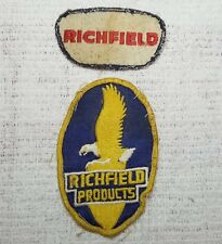 2 Vintage RICHFIELD Gas & Oil Service Station Uniform Cloth Embroidered Patches