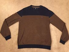 Men's Luke 1977 Striped Jumper Top Size Extra Large Navy & Brown Xmas Excellent