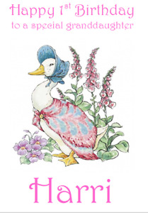 PERSONALISED GREETINGS CARD BIRTHDAY PARTY PETER RABBIT JEMIMA PUDDLEDUCK 1ST 2