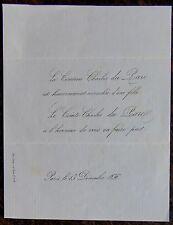 FAIRE PART NAISSANCE COMTESSE CHARLES DU PARC 13 DECEMBRE 1856