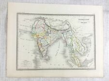 1846 Antique Map of Hindustan India Indian Sub Continent Hand Coloured Engraving