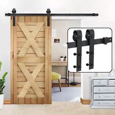 6.6 FT Sliding Door Barn Hardware Track Kit Closet Black Antique Country Style