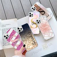For iPhone 12 11 8 7 MAX XR X XS Personalised Marble GEL Grip Phone Case 057