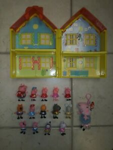 Peppa Pig Lot House Characters Friends  Keychain Action Figures Nice Shape