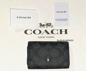 NWT $98 Coach 78675 Five Ring Key Case In Signature Canvas Charcoal Heather Grey