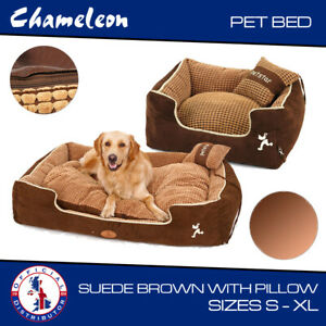 PREMIUM luxury Soft suede  Brown Pet Bed with Pillow 3 sizes
