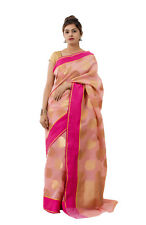 Women Cotton Silk Material Rose Gold Color Saree With Blouse Piece Indian