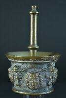 Mortier d'apothicaire ancien Mascaron bronze art populaire,collection 17e étoile