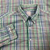 Brooks Brothers 1818 Button Up Shirt Green Men Large Plaid Original Polo