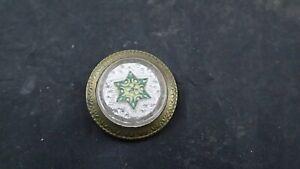 "ANTIQUE PICTURE NAIL VICTORIAN ARTWORK HANGER- Green ENAMEL-EMBOSSED Star 1 1/8"""