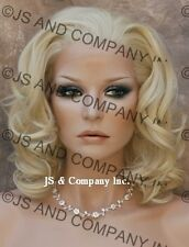 French Lace Front Wig Heat Safe Medium Length WIG Realistic Pale Blonde APA4 613