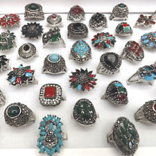Vintage Designed Resin Crystal Paved Rings Chinese Ethnic Jewelry 50pcs/lot