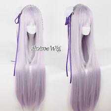 Re ZERO Emiria Light Purple Straight Long 100CM Anime Cosplay Wig + Wig Cap