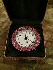 Travel-table Quartz Alarm Clock Swarovski /leather case Sweet Valentine Gift