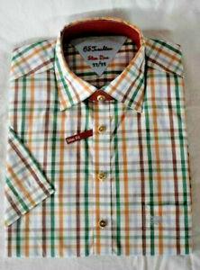 OS Trachten Trachtenhemd Hemd kariert gelb grün Gr 37/38 S Slim line
