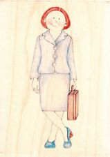BUSINESS LADY - Jolly Nation - Wood Mounted Rubber Stamp