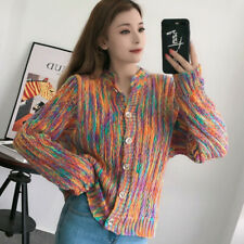 Women's Rainbow Knitted Cardigan Sweater Jumper Jacket Coat Button Knitwear