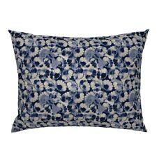Watercolor Indigo Navy Natural Shibori Folk Pillow Sham by Roostery