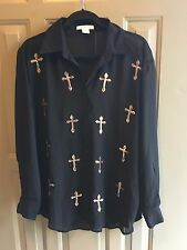 Glamorous Shirt Blouse Button Up Seethru Color Black Size Small
