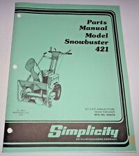 Simplicity 421 Snowbuster Snowthrower Parts Catalog Manual Book snow blower