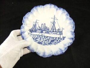 Antique Blue & White Canton China USS Main Battleship Commemorative Plate