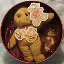 1999 Cherished Teddies Rodney 646504 Christmas Gift Set Plush Teddy Cookie Tin