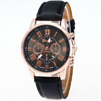 Women Casual Roman Numeral Watch For Men Women PU Leather Band Quartz Wristwatch