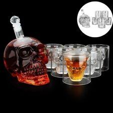 550ml Glass Skull Face Decanter with 6 Pcs Skull Shot Glasses for Whiskey