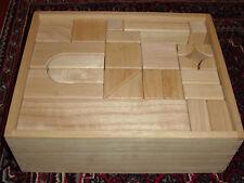 60 Pc Set Natural Wood Building Hardwood Blocks Kids With Storage Box
