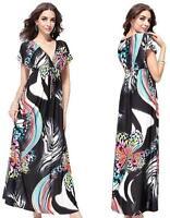New Women Long Maxi Summer Beach V Batwing Formal Evening Plus Size Party dress