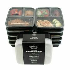 pack of 10 travel work 3 Compartment Reusable Food Storage Containers with Lids