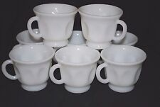 Set of 8 Vintage Hazel Atlas Thumbprint Milk Glass Punch Glasses / Coffee Cups