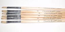 """Chenille Kraft 8.5"""" Long Handle #4 Brush  1/2"""" White Hair Set of 6"""