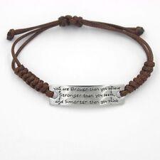 Women Men Brown Artificial braided leather cord Handmade Cuff Wristband Bracelet
