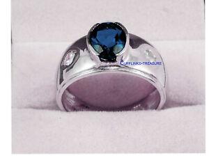 Natural Landon Blue topaz & CZ Gemstones with 925 Sterling Silver Ring For Men's