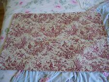 Pastoral Floral Toile Tablecloth Primitive Red Antique Ivory 100%Cotton Canvas