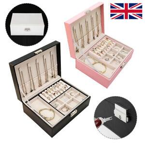 Jewelry Box Organizer Portable Travel Leather Jewellery Ornaments Case Storage