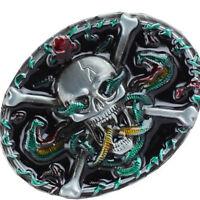 Gothic Belt Buckle Skeleton Skull Beauty Punk Vintage Rock Biker Accessories