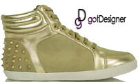 NEW Womens Shoes Studded Spike High Top Sneakers Lace up Taupe Suede Sz 5.5-10