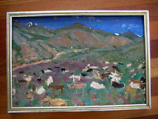 RUSSIAN OIL PAINTING DMITRIEV IMPRESSIONISM HERD OF COWS MOUNTAIN LANDSCAPE 1949