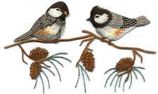 Chickadee - Chickadees On A Branch - Pine Cone - Bird - Iron On Applique Patch