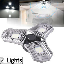 2X Deformable Tri-Fold Lamp LED Adjustable Three Light Garage High Bay Light 60W