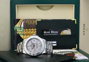 ROLEX REHAUT Mens Platinum & Stainless YachtMaster BOX & BOOKS 16622 SANT BLANC